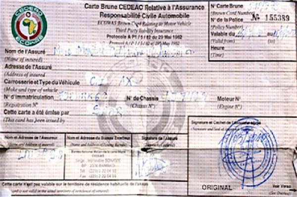 In Togo, the ECOWAS Brown Card for insurance is now compulsory